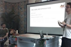 Gareth showing his slides